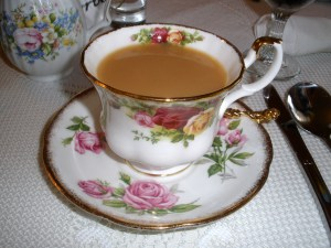 Tea served in an elegant cup and saucer