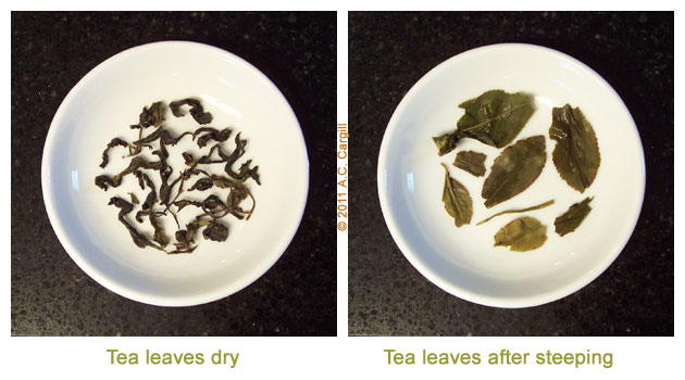 Small white bowls to show before and after steeping