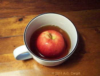 """""""dunking for apples"""" tea"""