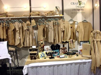 How many ways can you wear your tea? CrafTea Designs' booth at the 2011 World Tea Expo (Photo by Janis Badarau)