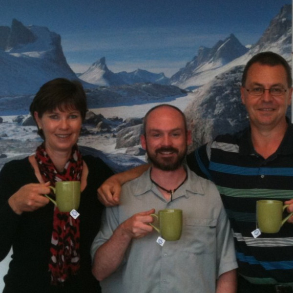 The Devonshire Tea front line pouring TEAm: (left to right) Debbie Kay, Antony Jinman (Polar Explorer and tea lover), and Gavin Sheppard