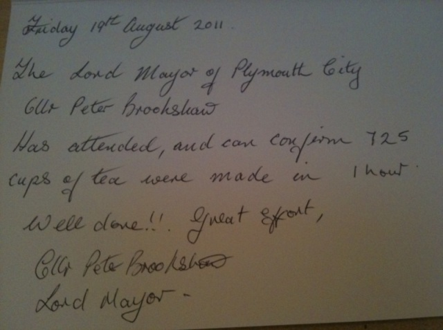 Letter from the Lord Mayor of Plymouth, UK