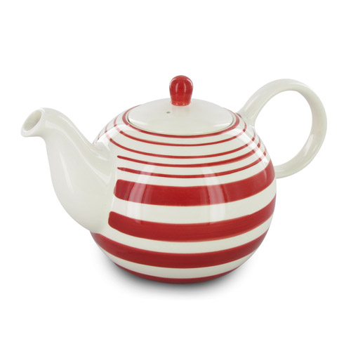 Red-and-white teapot from the Stripes Tea for Two set