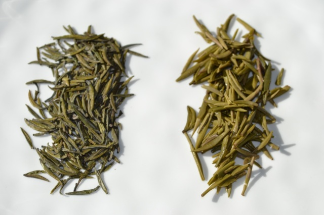 Dried loose leaf compared to the wet leaf on the right