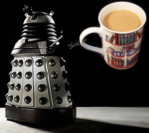 """A Dalek (the redesigned model from 2010) enjoying a """"cuppa"""""""