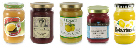Various fruit curds