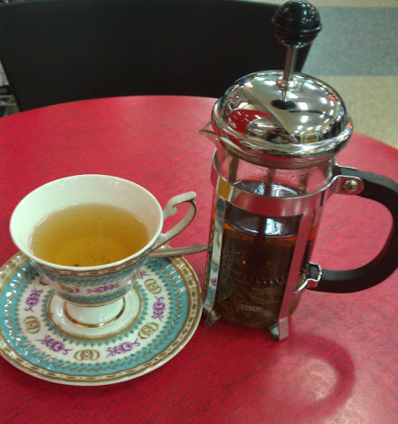Lung Ching Green Tea, French Press and English Teacup