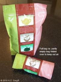 Pouches, filled with bagged or loose tea — sensible and cost effective