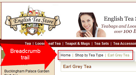 A great way to navigate a site: breadcrumb trail
