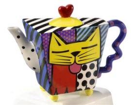 Romero Britto Yellow Cat Square Teapot