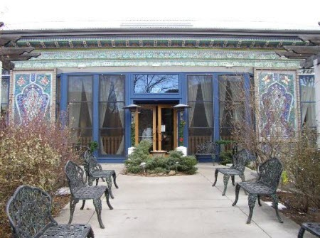 The exterior of Dushanbe Boulder Tea House is covered in handmade ceramic tiles