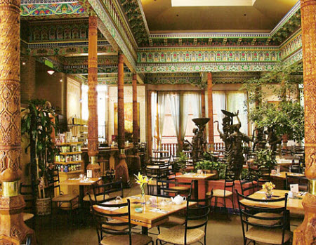 Interior of Boulder Dushanbe Tea House. At the centre is the Fountain of the Seven Beauties