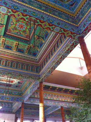 Ceiling detail and cedar column, Boulder Dushanbe Tea House