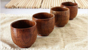4pcs small size water tea coffee wooden cups eco & nature green life