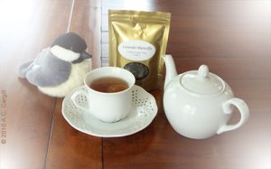 Lavender Butterfly Green Tea steeped in a 1-cup teapot