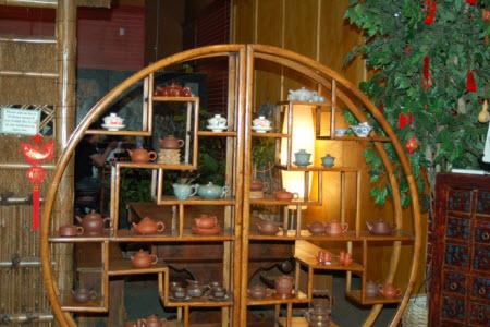 Display of yixing pots at the Ku Cha Tea House
