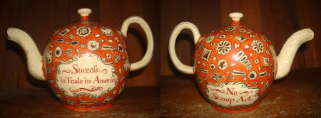 Two sides of a valuable and historic teapot