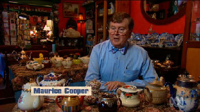 Maurice Cooper with some of his collection of 4,000 teapots