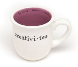 Creativi-tea mug by Mudpie. I avoided the temptation to make this pun myself, but it's a good one…and accurate too!