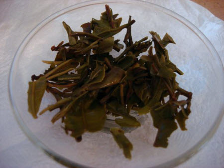 White Darjeeling tea leaves after steeping