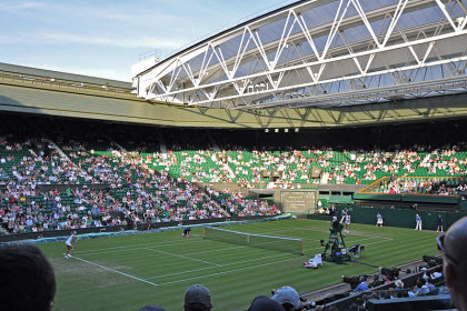 A match on Centre Court at Wimbledon is the perfect chance to enjoy a cup of tea (image from Wikimedia commons).