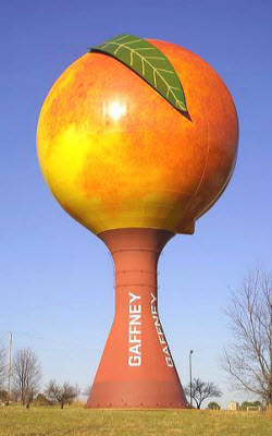 The Peachoid water tower in Gaffney, South Carolina.