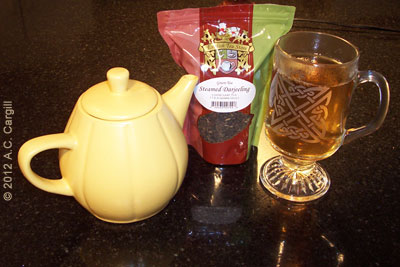 Steamed Darjeeling green tea is golden in the cup. (Photo source: A.C. Cargill, all rights reserved)
