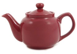 Amsterdam 2 Cup Burgundy Teapot – just right for those breakfast blends and heavier black teas. (Photo source: The English Tea Store)