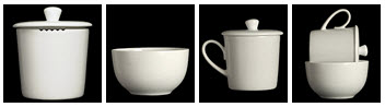 Standard tea tasting set in white ceramic. Note the notches in the cup edge (left photo) for straining tea liquid into the sipping cup (2nd to left). (Photo source: stock image)