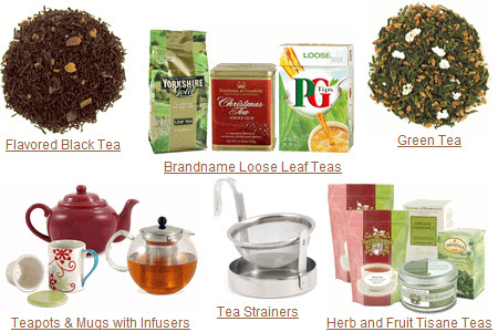 The generalist tea vendor can supply all your tea needs in one-stop shopping. (Photo source: composite of screen captures from site)