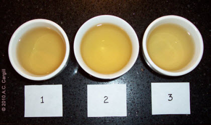 Three tiny steepings, each with its own flavors, can be combined into one bigger cuppa with a fused flavor. (Photo source: A.C. Cargill, all rights reserved)