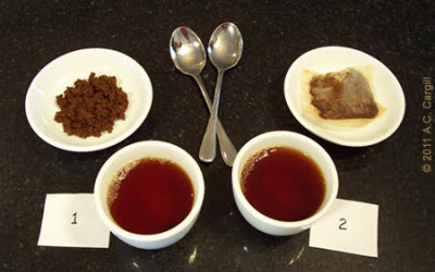 The same tea, one steeped loose and the other in the bag. The difference was unmistakable. (Photo source: A.C. Cargill, all rights reserved)