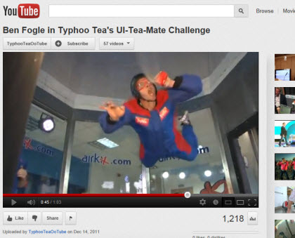 Ben Fogle in Typhoo Tea's Ul-Tea-Mate Challenge (Photo source: screen capture from site)