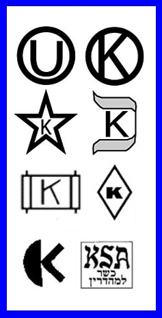 Some popular symbols of kosher certification. (Photo source: article author)