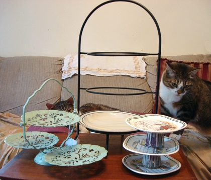 Several elegantly tiered ways to serve afternoon tea. All are kitty-approved. (Photo source: article author)
