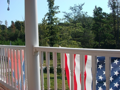 "The view from our balcony in early autumn. (Did you know about English Tea Store's ""sister"" store, US Flag Store, where you can almost any flag under the sun? We love the ones we bought there!) (Photo source: article author)"