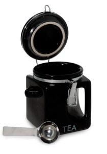"""Impish Hideout"" Tea Canister in ""Dead of Night"" Black (Photo source: The English Tea Store)"