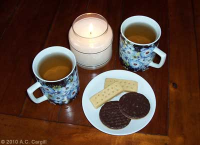 Tea, candlelight, and tasty cookies – perfect treats while you read this list of events to toast with tea in October! (Photo source: A.C. Cargill, all rights reserved)