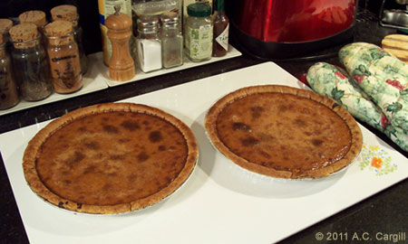 We let the tops of the pies brown a little on purpose. Honest! (Photo source: A.C. Cargill, all rights reserved)