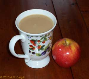 Cuppa and an apple – sip and crunch while you read! (Photo source: A.C. Cargill, all rights reserved)