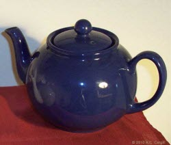 Blue Betty is a hard-working teapot! (Photo source: A.C. Cargill, all rights reserved)
