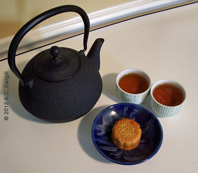 Anything can set a tea mood, even a special treat like a moon cake! (Photo source: A.C. Cargill, all rights reserved)