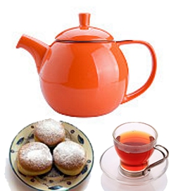 Tea and jelly doughnuts for Chanukah