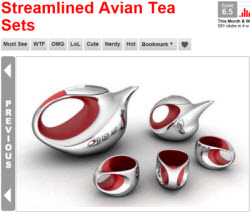 Streamlined Avian Tea Sets (Photo source: screen capture from site)