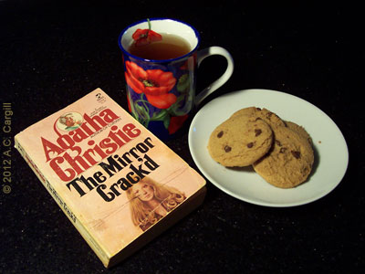 Tea, cookies, and a classic by Agatha Christie (Photo source: A.C. Cargill, all rights reserved)