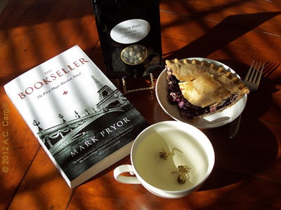 A good book, a big slice of blueberry pie, and some delicate, planty Dragon Pearl tea — ah! (Photo source: A.C. Cargill, all rights reserved)