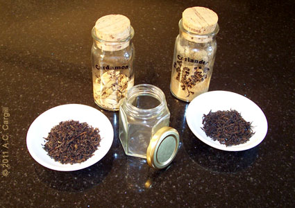 My attempt awhile back at a homemade tea blend. Not too bad, but… (Photo source: A.C. Cargill, all rights reserved)