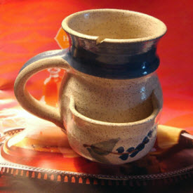 My handmade mug, elegantly handling any teabag. (Photo source: article author)