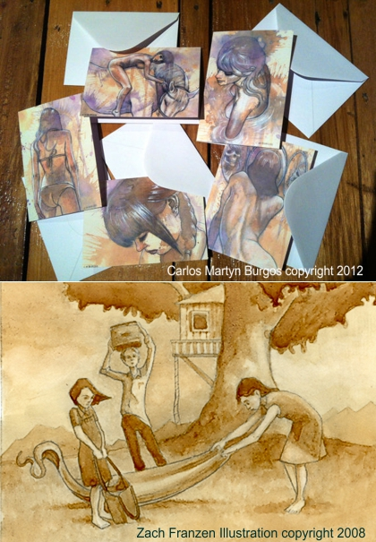 Top: Carlos Martyn Burgos greeting cards. Bottom: Zach Franzen illustration.(Photo source: article author)