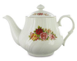 Roses on a teapot! The Cordelia Porcelain Teapot, that is. (Photo source: The English Tea Store)